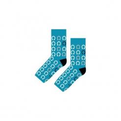 Podkowy Szczęścia - Skarpety. Niebieskie skarpetki męskie Sox in the box, w kolorowe wzory, z bawełny. Za 25,00 zł.