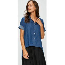 Answear - Koszula. Szare koszule jeansowe damskie marki ANSWEAR, uniwersalny, casualowe, z klasycznym kołnierzykiem, z krótkim rękawem. W wyprzedaży za 79,90 zł.