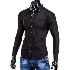 KOSZULA MĘSKA ELEGANCKA Z DŁUGIM RĘKAWEM K302 - CZARNA. Brązowe koszule męskie na spinki marki Ombre Clothing, m, z aplikacjami, z kontrastowym kołnierzykiem, z długim rękawem. Za 59,00 zł.