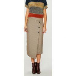 Answear - Spódnica Heritage. Szare spódniczki asymetryczne marki ANSWEAR, l, z elastanu, z podwyższonym stanem, midi. Za 139,90 zł.