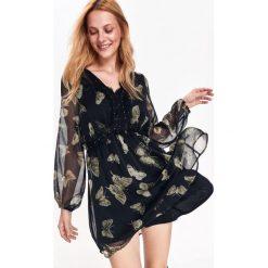 Sukienki: SUKIENKA DAMSKA WE WZORY, Z KORONKĄ