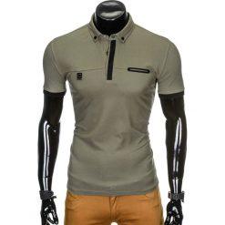 KOSZULKA MĘSKA POLO BEZ NADRUKU S912 - KHAKI. Czarne koszulki polo marki Ombre Clothing, m, z bawełny, z kapturem. Za 39,00 zł.