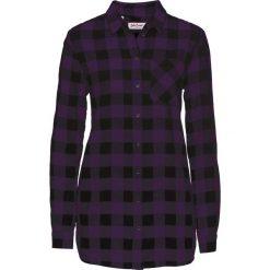 Długa bluzka flanelowa bonprix ciemny lila - czarny. Niebieskie bluzki longsleeves marki bonprix, z nadrukiem. Za 79,99 zł.