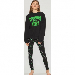 Dwuczęściowa piżama z motywem Halloween - Czarny. Czarne piżamy damskie marki Cropp, m. Za 89,99 zł.