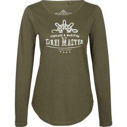 Koszulka w kolorze oliwkowym. Brązowe bluzki longsleeves Dreimaster, xs, z nadrukiem, z bawełny, z okrągłym kołnierzem. W wyprzedaży za 64,95 zł.