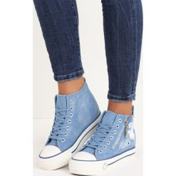 Jasnoniebieskie Sneakersy Baymax. Niebieskie sneakersy damskie Born2be, z denimu. Za 49,99 zł.