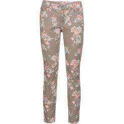 Rurki damskie: Spodnie Skinny w kwiaty bonprix brunatny w kwiaty