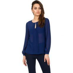 Bluzki asymetryczne: Szyfonowa bluzka z długim rękawem w kolorze granatowym BIALCON