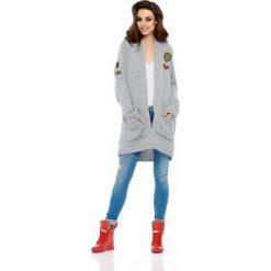 Odzież damska: Jasnoszary Długi Klasyczny Kardigan z Naszywkami
