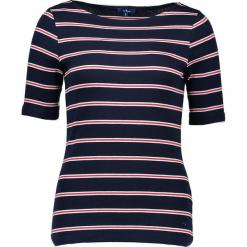 Koszulka w kolorze granatowo-czerwonym. Niebieskie t-shirty damskie marki Tom Tailor Adults, s, w paski, z bawełny, z dekoltem w łódkę. W wyprzedaży za 43,95 zł.