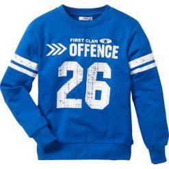 """Bluza """"college"""" bonprix lazurowy. Niebieskie bluzy chłopięce rozpinane marki bonprix, z nadrukiem. Za 27,99 zł."""