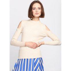 Beżowy Sweter Pointless. Niebieskie swetry klasyczne damskie marki ARTENGO, z elastanu, ze stójką. Za 49,99 zł.