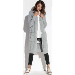 Kardigany damskie: Szary Długi Sweter Zapinany na Guziki
