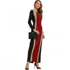 Sukienka w kolorze czarno-beżowym. Brązowe długie sukienki marki Almatrichi, s, z okrągłym kołnierzem, z długim rękawem, proste. W wyprzedaży za 209,95 zł.