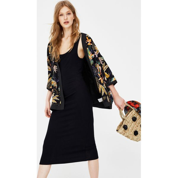 0f80b7c054 Gładka sukienka midi na ramiączkach - Sukienki damskie Pull Bear