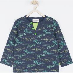Koszulka. Zielone t-shirty chłopięce z długim rękawem BABY DINO, z nadrukiem, z bawełny. Za 45,90 zł.
