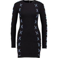 Sukienki: Missguided CONTRAST LACE UP BODYCON MIDI Sukienka etui black