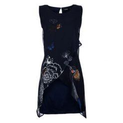 Desigual Sukienka Damska 38 Ciemny Niebieski. Niebieskie sukienki asymetryczne Desigual, na co dzień, na lato, z materiału, z asymetrycznym kołnierzem. W wyprzedaży za 299,00 zł.