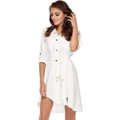 Sukienki: Biała Koszulowa Sukienka w Militarnym Stylu