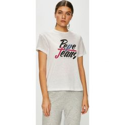 Pepe Jeans - Top. Szare topy damskie Pepe Jeans, l, z nadrukiem, z bawełny, z okrągłym kołnierzem. Za 139,90 zł.