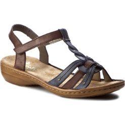 Rzymianki damskie: Sandały RIEKER – 60838-12 Brown Combination