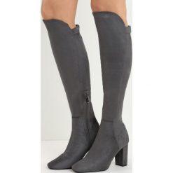 Ciemnoszare Kozaki No Sense. Czarne buty zimowe damskie Born2be, przed kolano, na wysokim obcasie, na słupku. Za 79,99 zł.