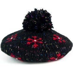 Czapka damska w śnieżynki-gwiazdeczki czarna (cz2701). Czarne czapki zimowe damskie Art of Polo. Za 37,60 zł.