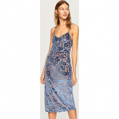 Sukienka z tkaniny devore - Niebieski. Niebieskie sukienki z falbanami marki Reserved, s, z tkaniny. W wyprzedaży za 59,99 zł.