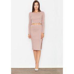 Bluzki damskie: Jasno Różowy Dwuczęściowy Komplet Krótka Bluzka + Ołówkowa Midi Spódnica