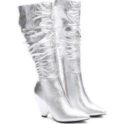 Srebrne Kozaki My Happiness. Czarne buty zimowe damskie marki Kazar, ze skóry, na wysokim obcasie. Za 169,99 zł.