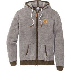 Swetry męskie: Sweter rozpinany Regular Fit bonprix ciemnooliwkowo-biały