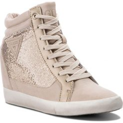 Sneakersy GUESS - Patty FLATT1 FAB12 GOLD. Czarne sneakersy damskie marki Guess, z materiału. W wyprzedaży za 259,00 zł.