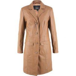 Płaszcz ze sztucznej skóry bonprix koniakowy. Brązowe płaszcze damskie pastelowe bonprix, ze skóry. Za 239,99 zł.