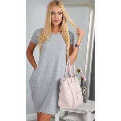 Sukienka jasnoszara z krótkim rękawem  9967. Szare sukienki Fasardi, l, z krótkim rękawem, mini, oversize. Za 39,00 zł.