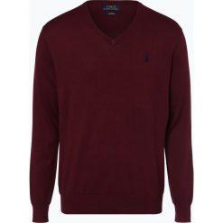Polo Ralph Lauren - Sweter męski, czerwony. Czerwone swetry klasyczne męskie Polo Ralph Lauren, l, z haftami, z dzianiny, z dekoltem w serek. Za 449,95 zł.