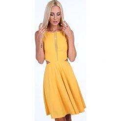 Sukienka rozkloszowana z szyfonem żółta 1781. Żółte sukienki Fasardi, l, z szyfonu, rozkloszowane. Za 89,00 zł.