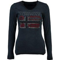 """Koszulka """"Jarlotte"""" w kolorze granatowym. Niebieskie bluzki damskie Geographical Norway, s, z aplikacjami, z długim rękawem. W wyprzedaży za 99,95 zł."""