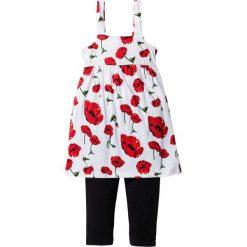 Sukienka + legginsy (2 części) bonprix biało-ciemnoczerwony z nadrukiem. Białe legginsy dziewczęce marki bonprix, na lato, z nadrukiem. Za 54,99 zł.