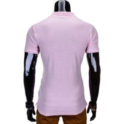 KOSZULKA MĘSKA POLO BEZ NADRUKU S715 - JASNORÓŻOWA. Czerwone koszulki polo marki Ombre Clothing, m, z nadrukiem, z materiału. Za 39,00 zł.