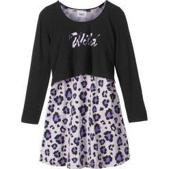 """Sukienki dziewczęce: Sukienka + shirt """"boxy"""" (2 części) bonprix czarno-fiołkowy"""