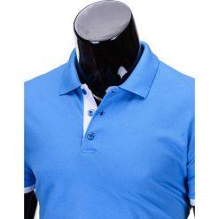 KOSZULKA MĘSKA POLO BEZ NADRUKU S758 - BŁĘKITNA. Czarne koszulki polo marki Ombre Clothing, m, z bawełny, z kapturem. Za 29,00 zł.