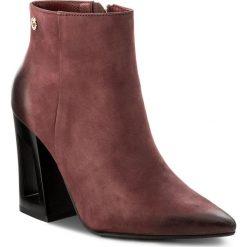 Botki CARINII - B4163 B73-000-PSK-C28. Czerwone buty zimowe damskie marki Carinii, z materiału, na obcasie. W wyprzedaży za 249,00 zł.