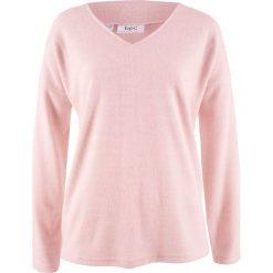 Sweter z polaru z dekoltem w serek bonprix pastelowy jasnoróżowy melanż. Czerwone swetry klasyczne damskie bonprix, z polaru, z dekoltem w serek. Za 69,99 zł.