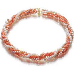 Naszyjniki damskie: Naszyjnik z perłami i koralami – (D)48 cm