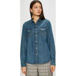 Wrangler - Koszula. Szare koszule jeansowe damskie marki Wrangler, na co dzień, m, z nadrukiem, casualowe, z okrągłym kołnierzem, mini, proste. Za 259,90 zł.