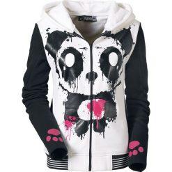 Bluzy damskie: Killer Panda Mase Hood Bluza z kapturem rozpinana damska biały/czarny