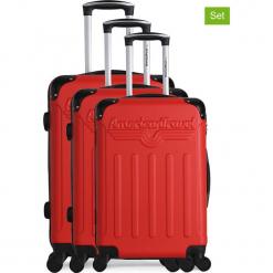 """Walizki (3 szt.) """"Harlem A"""" w kolorze czerwonym. Czerwone walizki American Travel, z materiału. W wyprzedaży za 434,95 zł."""