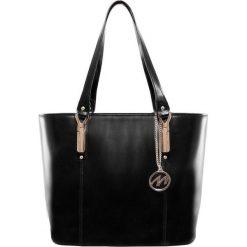Skórzana torebka do pracy Savarna, kolor czarny. Czarne torebki klasyczne damskie Mcklein, paisley. Za 499,00 zł.