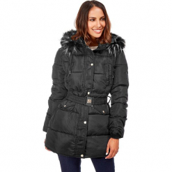 Płaszcz w kolorze czarnym. Czarne płaszcze damskie zimowe Snowie Collection, s, w paski, z tkaniny. W wyprzedaży za 227,95 zł.