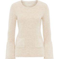 Swetry klasyczne damskie: Sweter dzianinowy z rozkloszowanymi rękawami bonprix beżowy melanż